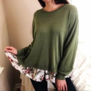 3 LEFT XL-2X Spring Floral Lightweight Sweater Top